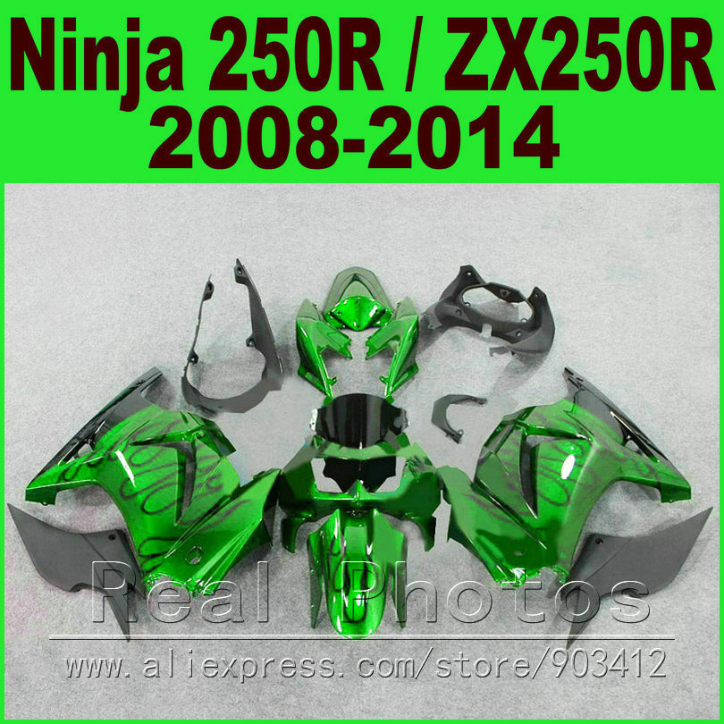 Body kit Kawasaki Ninja 250r Fairings glossy green year 2008 2009 2010 2011 2012 2013 2014 EX250 ZX 250 fairing kits parts R4O7 black moto fairing kit for kawasaki ninja zx14r zx 14r zz r1400 zzr1400 2006 2007 2008 2009 2010 2011 fairings custom made c549