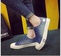 Весной и летом Женская Мода Низкая Топ Джинсовые парусиновые Туфли, Босоножки, Повседневная Обувь Студент обувь Размер 35 ~ 40
