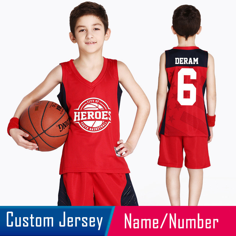 9f8247da0 2018 New Reversible Kids Basketball Jerseys Uniforms Both Side Children Team  Tracksuits Boy Trainning Shirt