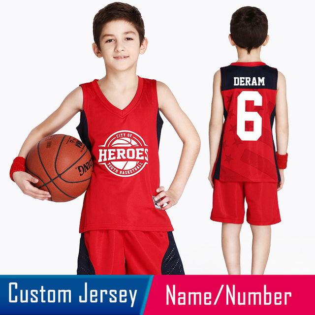 03e141fbad6f 2018 New Reversible Kids Basketball Jerseys Uniforms Both Side Children  Team Tracksuits Boy Trainning Shirt   Shorts Sets Custom