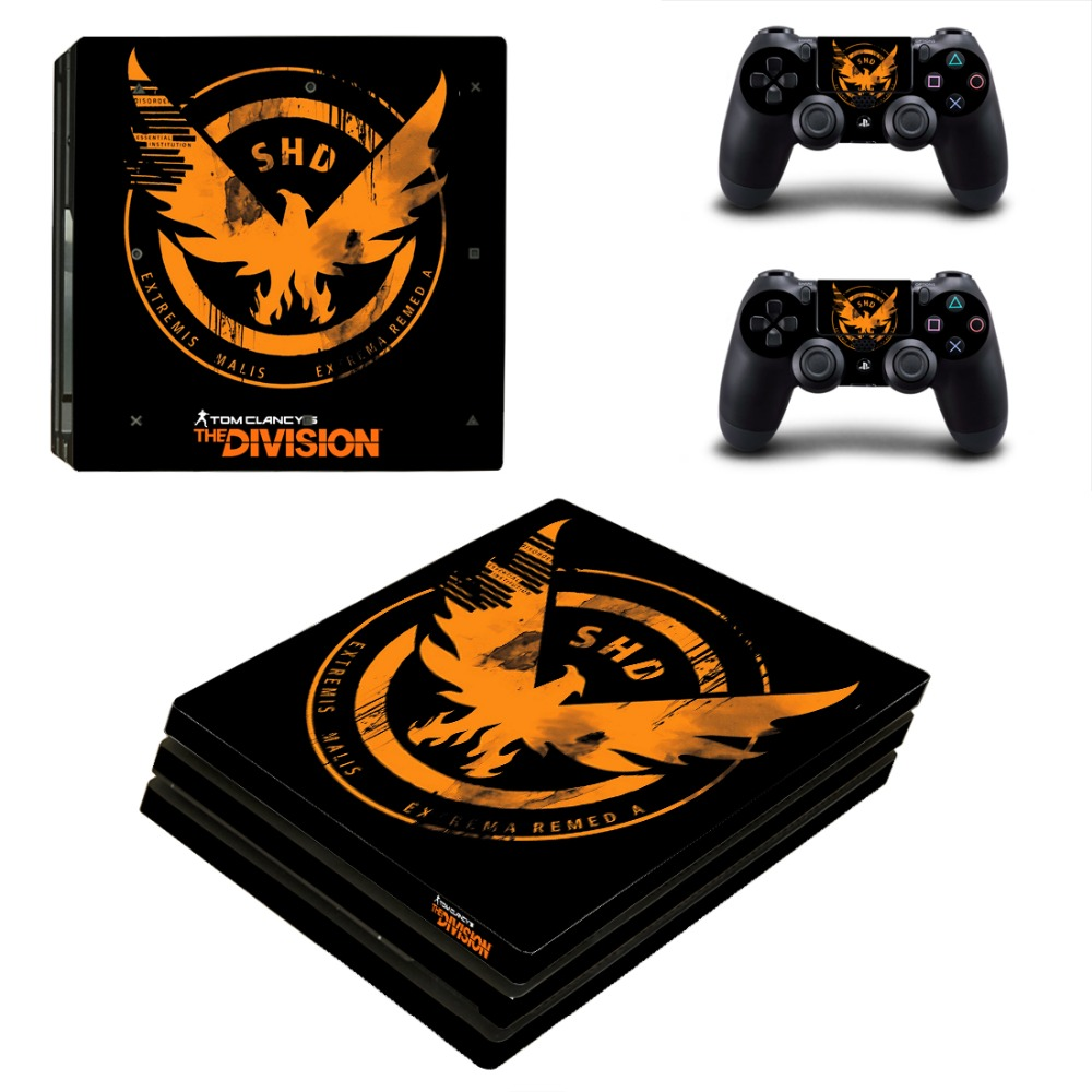 The Division Vinyl Game Protective Skin Sticker For Playstation 4 Pro Decal Cover Sticker For PS4 Pro Console+2 Controller Skins