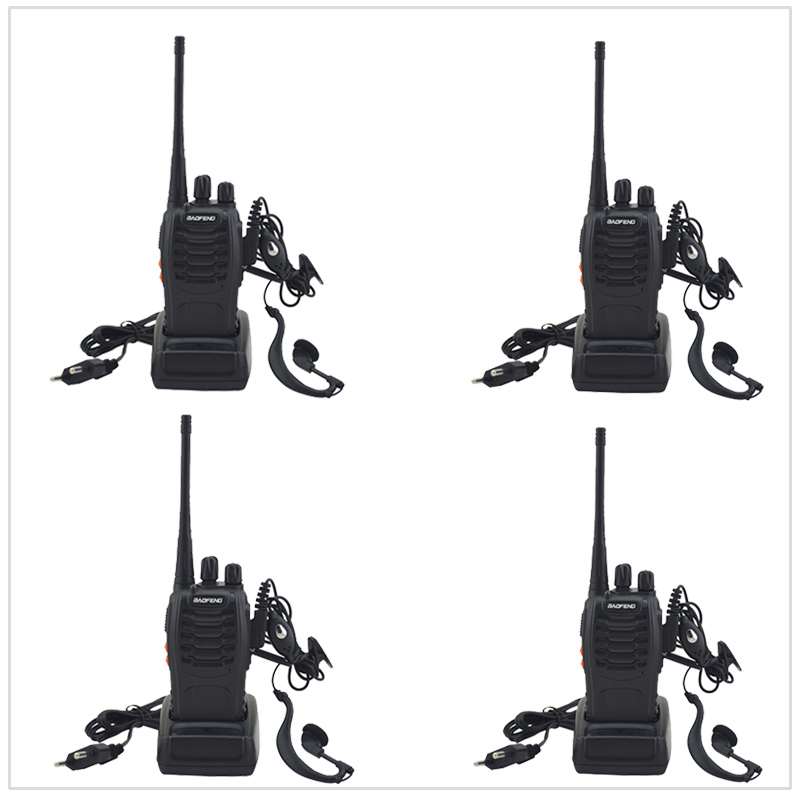 4pcs/Lot with Earpiece Two way Radio Baofeng Walkie Talkie BF-888S UHF 400-470MHz 16CH Portable Two-way Radio with Earpiece
