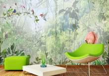 Настенные 3d обои зеленый фон с цветами и настенная живопись
