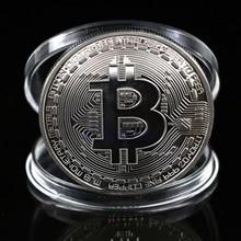 1 шт. Посеребренная монета Биткойн Коллекционная арт-коллекция монет btc подарок физический
