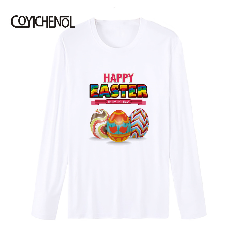 Easter Eggs printed T-shirt men modal long sleeves tshirt homme Bunny theme tops funny design tees S-4XL COYICHENOL