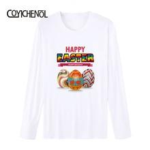 Easter Eggs printed T-shirt men modal long sleeves tshirt homme Bunny theme tops funny design tees S-4XL COYICHENOL