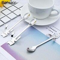 Behokic 10 PCS Stainless Steel Cat Tea Coffee Ice Cream Spoon Teaspoon Tableware For Home Kitchen