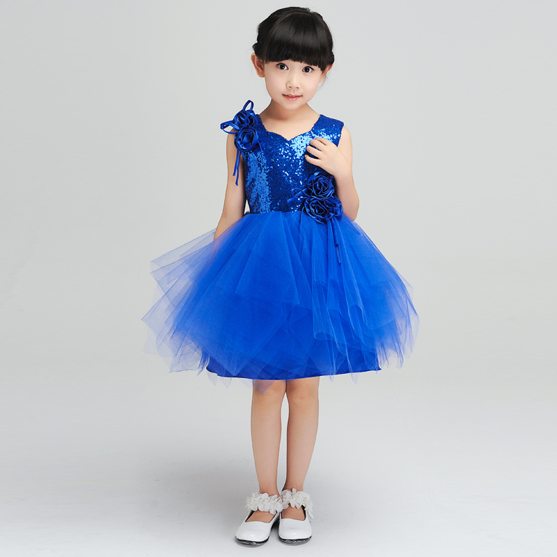 kids girls dresses new sequined knee-length tutu flowers girl dress for wedding birthday costume ball gown princess dress