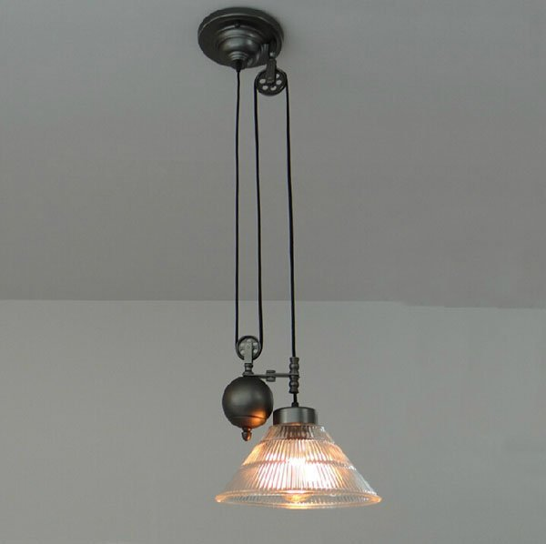 Vintage American Industrial Pendant Lights RH Loft Pulley Adjustable Wire Retractable Bar Hanglamp Lamp Light Fixtures E27
