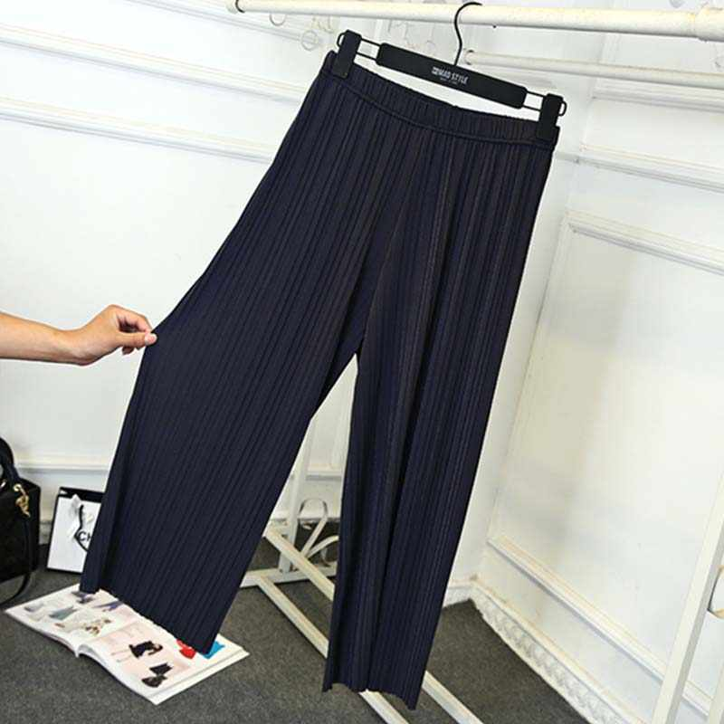 Летние тонкие большие размеры широкие брюки свободные черные цвета модные большие размеры розовые эластичные талии тонкие пляжные женские брюки Femme брюки