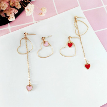 Heart-Shaped Earrings Japanese And Korean Girls Love Personality Fashion Wild Asymmetric Pendant Ear Clip Wholesale 5