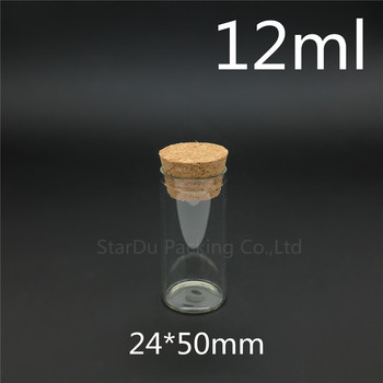 Free shipping 100pcs/lot 12ml 24*50mm Wishing Glass Bottle with Cork ,High-quality 12cc Glass Vials Display Bottle Wholesale