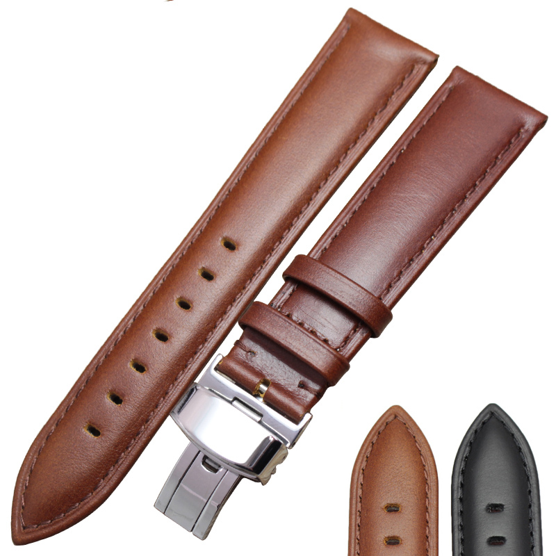 18mm 24mm Genuine Leather font b Watch b font Band Strap Brown Black High Quality Watchbands