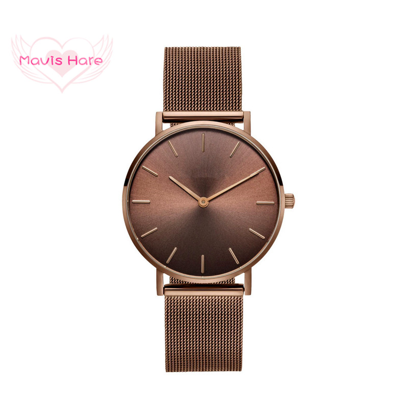 Mavis Hare KHAKI COFFEE Mesh Wristwatch Woman/Man Watches With Stainless Steel Yellow-Brown Khaki Colour Mesh Bands As Best Gift