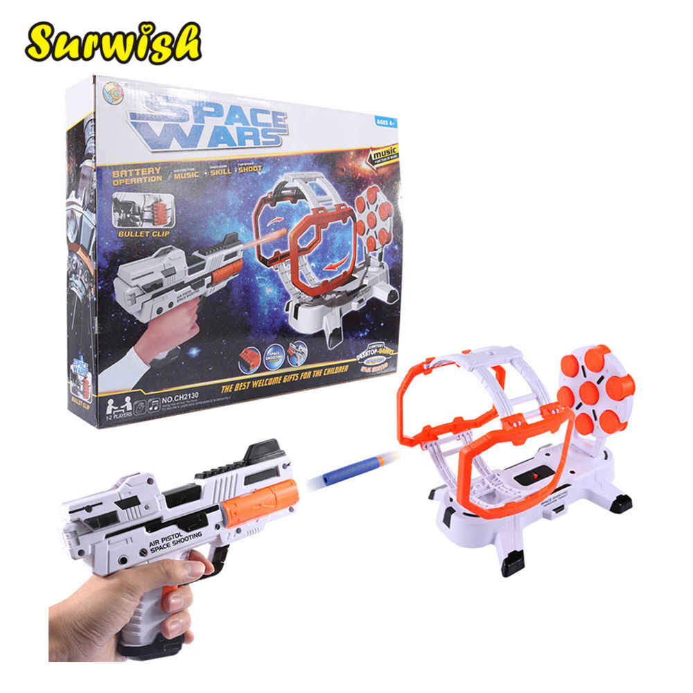 Shooting Toy Series Electric Rotary Target Soft Bullet Shooting Practice Set with Music Effect - Red-white
