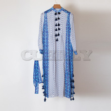 Cuerly HIGH QUALITY New boho 2019 Designer Runway Dress Womens stand sleeve Long Sleeve Fashion Print Tassel loose Dresses