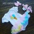 Conjuntos de Roupas de bebê Menina Infantil 3 pcs Terno Princesa Tutu Vestido Romper/Jumpersuit Bebe Trajes de Festa de Aniversário Vestidos