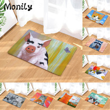 Monily Anti-Slip Waterproof Door Mat Lovely Cat Eat Food Fish Pig Carpets Bedroom Rugs Decorative Stair Mats Home Decor Crafts(China)