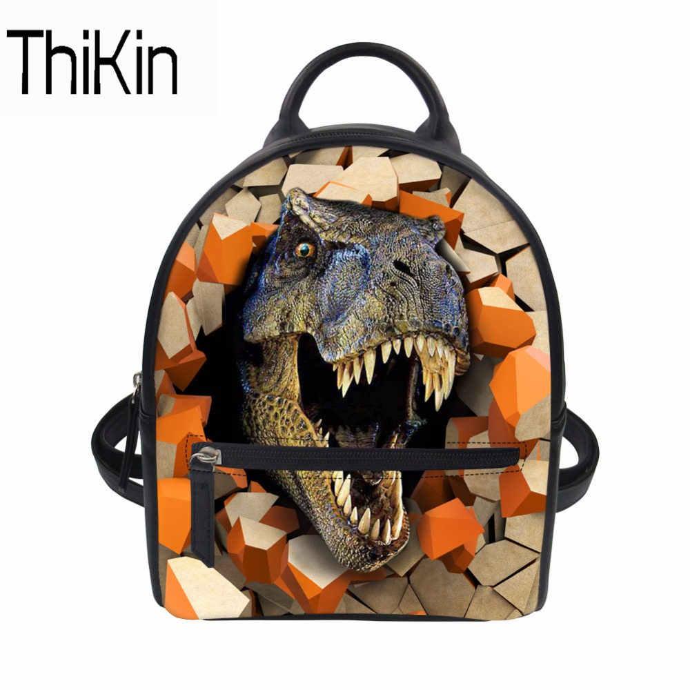 THIKIN дети мультфильм Динозавр школьные сумки детские школьные рюкзаки для мальчиков и девочек книга рюкзак Подростковая искусственная кожа Mochila пляжная сумка