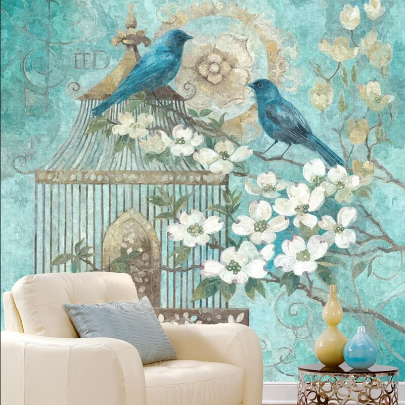Europe hand make oil painting birds and flowers printing wallpaper customization wall decor paper the hermitage birds and flowers