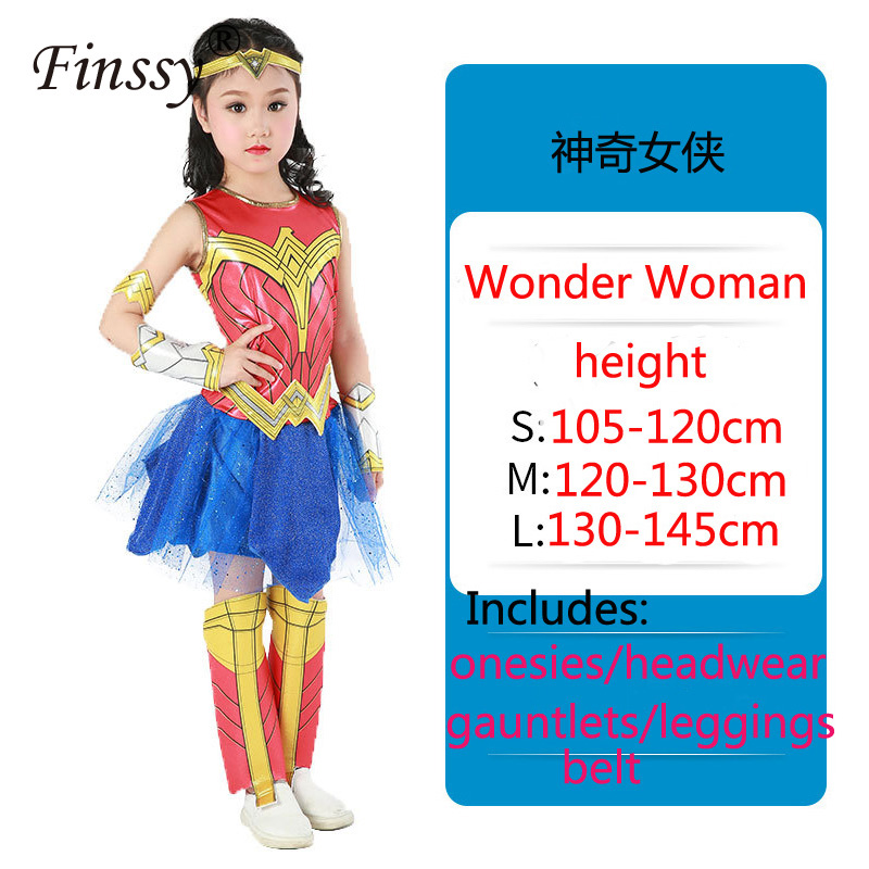 Hero Wonder Woman Cosplay Dress Halloween Carnival Holiday Party Stage Performance Suit Costume For Girl