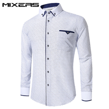 2018 Brand Cottton Men Shirt Long Sleeve Slim Fit Casual Shirts Men Printed White Dress Shirt Male Summer Clothes Camisa Social