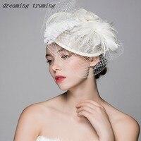 2019 Popular Woman Wedding Hats and Fascinators Tulle Feathers Handmade Wedding Bridle Hats Wedding Accessories