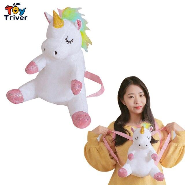 Sevimli Kawaii Unicorn sırt çantası okul omuzdan askili çanta sırt çantası peluş oyuncak Triver bebek çocuk çocuk kız erkek kız öğrenci hediye