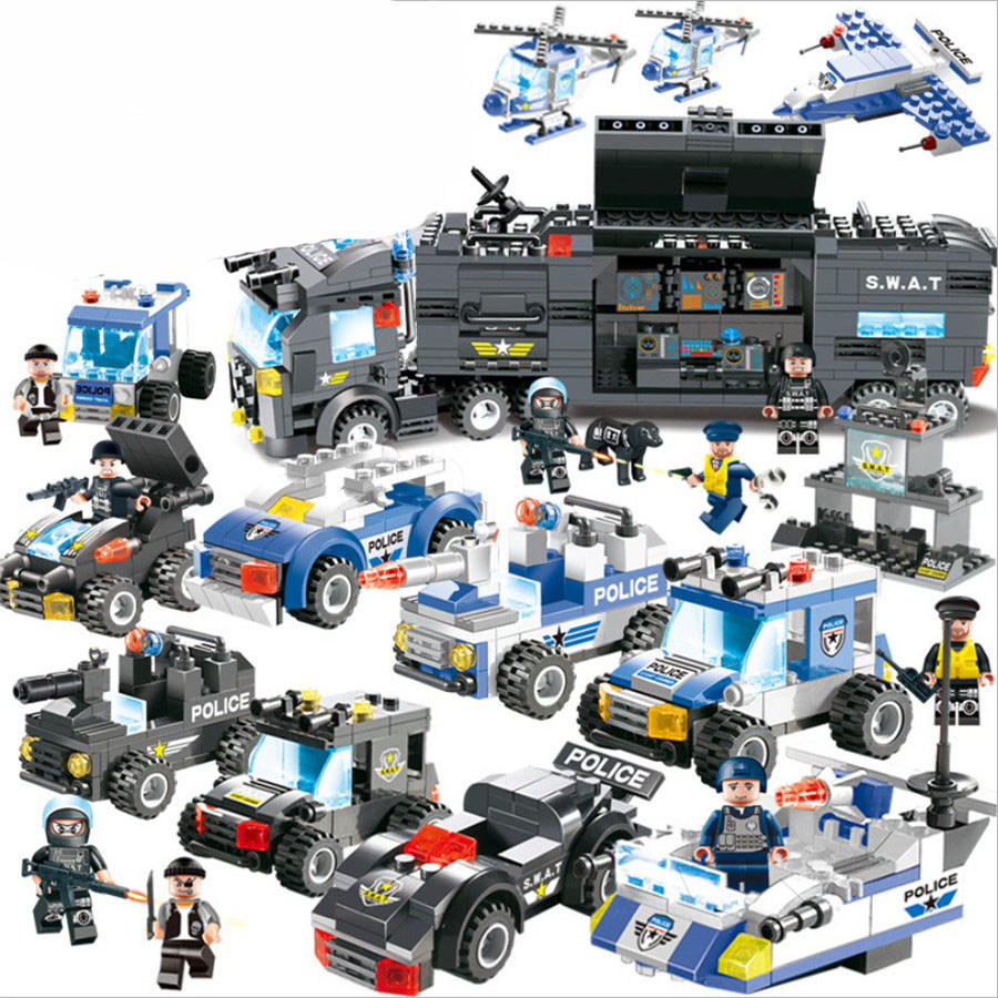 DIY Bricks City Police Series Police Station Model legoed Building Blocks Set Educational Toys For Children Compatible Le Blocks police station building blocks sets model 300pcs helicopter speedboat educational diy bricks toys for children ts10121