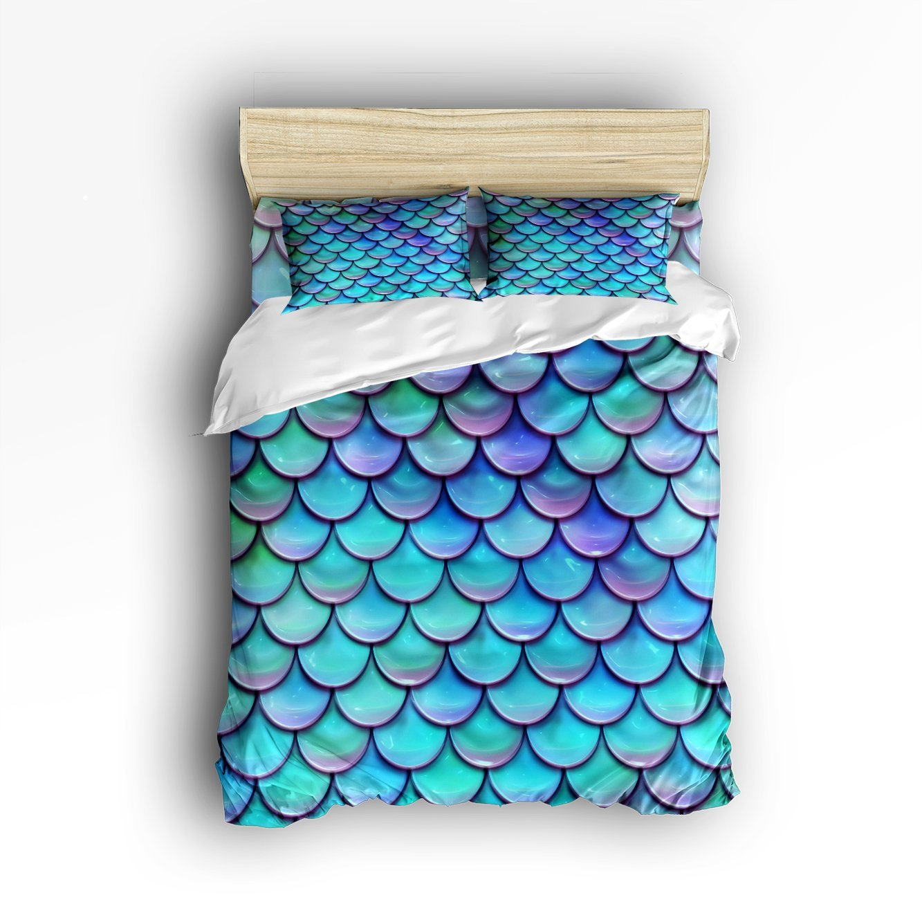 CHARMHOME Fish Scales Purple Blue Pattern 3d Bedding Sets ... - photo#49
