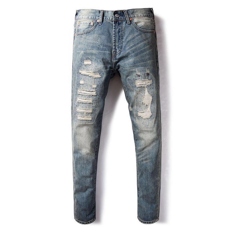 Japanese Style Fashion Men Jeans Patchwork Destroyed Ripped Jeans Men Slim Fit Hip Hop Pants Hombre Streetwear DSEL Jeans Homme