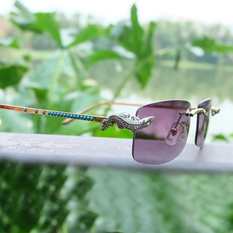 LAOKE Luxury Golden CORCODILE senza montatura carter occhiali da cornice di Strass occhiali da sole donne Diamante Blu del progettista di marca occhiali da sole da uomo
