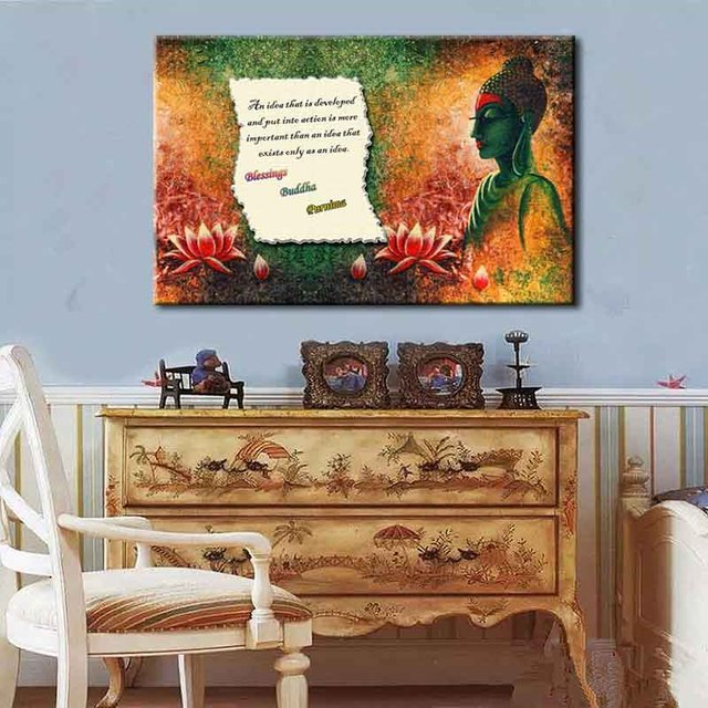 Buddha With Buddhist scriptures Canvas Print Painting Large Size ...