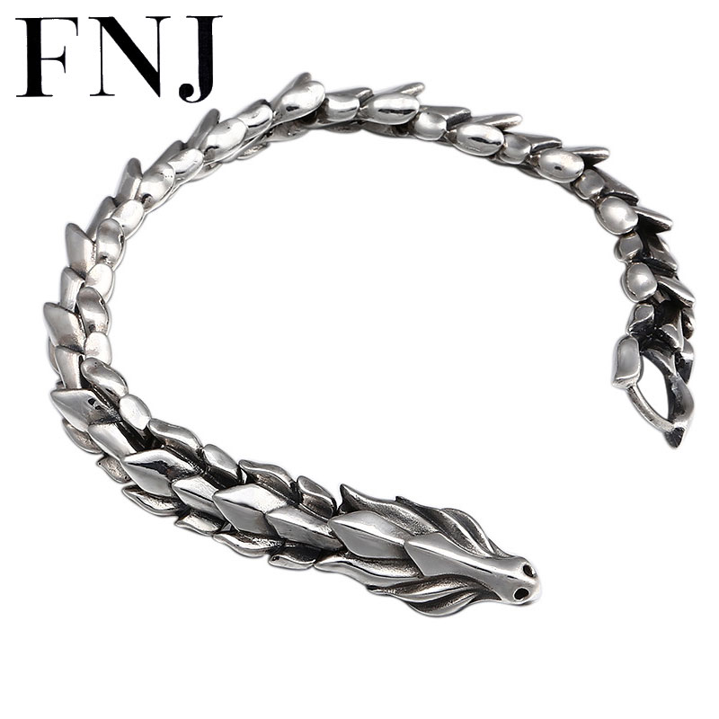 FNJ Dragon Bracelet 925 Silver Width 12mm 20cm Original Pure S925 Thai Silver Bracelets for Men