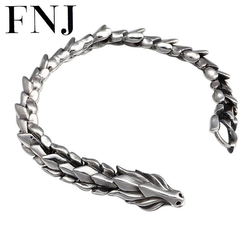FNJ smok bransoletka ze srebra próby 925 szerokość 12mm 20 cm oryginalny czysta S925 Thai srebrne bransoletki dla mężczyzn biżuteria w Bransoletki łańcuszkowe od Biżuteria i akcesoria na  Grupa 1