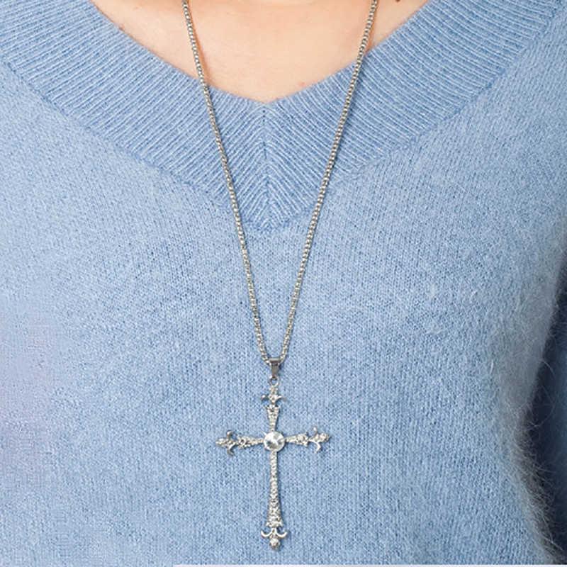 สร้อยคอเงินจี้พระเยซูเครื่องประดับผู้หญิงผู้ชาย Cubic Zirconia คริสตัล Rhinestone อุปกรณ์เสริมโซ่เสื้อกันหนาวยาว
