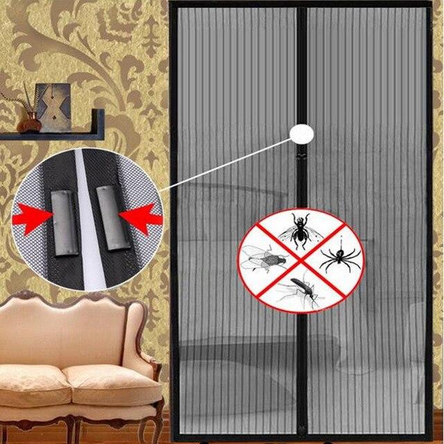 Черный Противомоскитный занавес, без рук, магнитный мягкий дверной экран, прочная москитная сетка, Летний стиль для гостиной 100*210 см