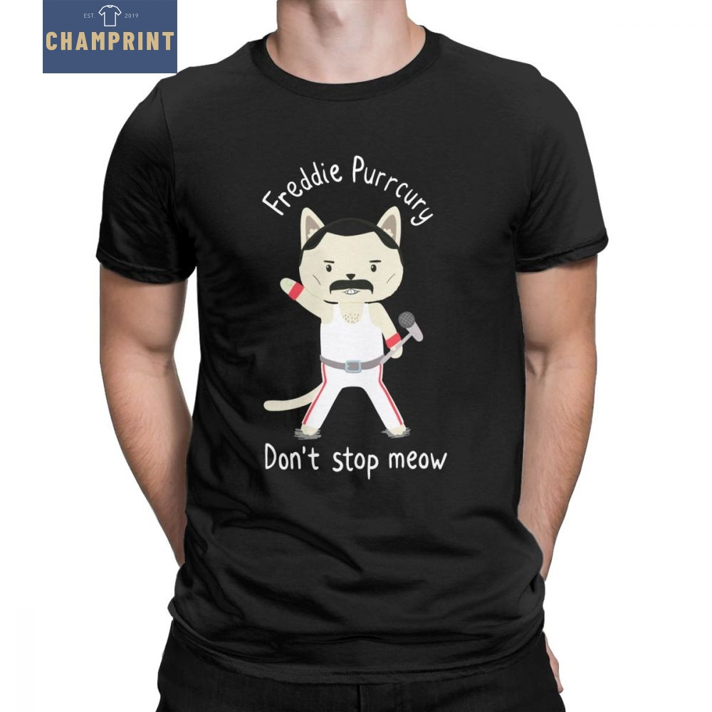 Don'  t   Stop Meow Cute   T  -  Shirt   Men's Queen Freddie Purrcury Cat Fathers Day Gift Tees Crewneck Cotton Tops Graphic   T     Shirt