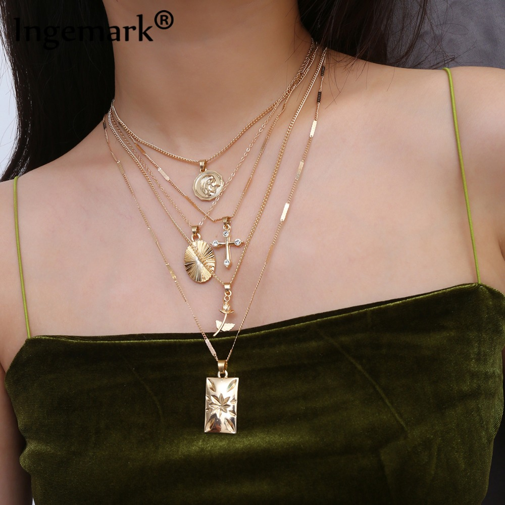 Ingemark Layered Rose Cross Pendant Choker Necklace Set Boho Golden Carve Portrait Coin Long Chain Necklace Women Christian Gift(China)
