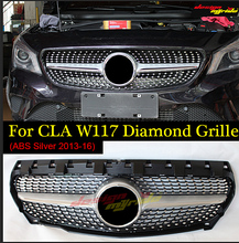 W117 Front Diamond Grille Fits For MercedesMB CLA-W117 Cla180 Cla200 Cla250 Cla45 2013-2016 Silver ABS Without sign
