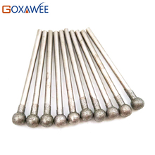 10pcs Shank 2.35mm Glass Diamond Gun Drill Bit Diamond Bur Ball Shape For Dremel Power Tool Accessories Metal Drilling Engraving