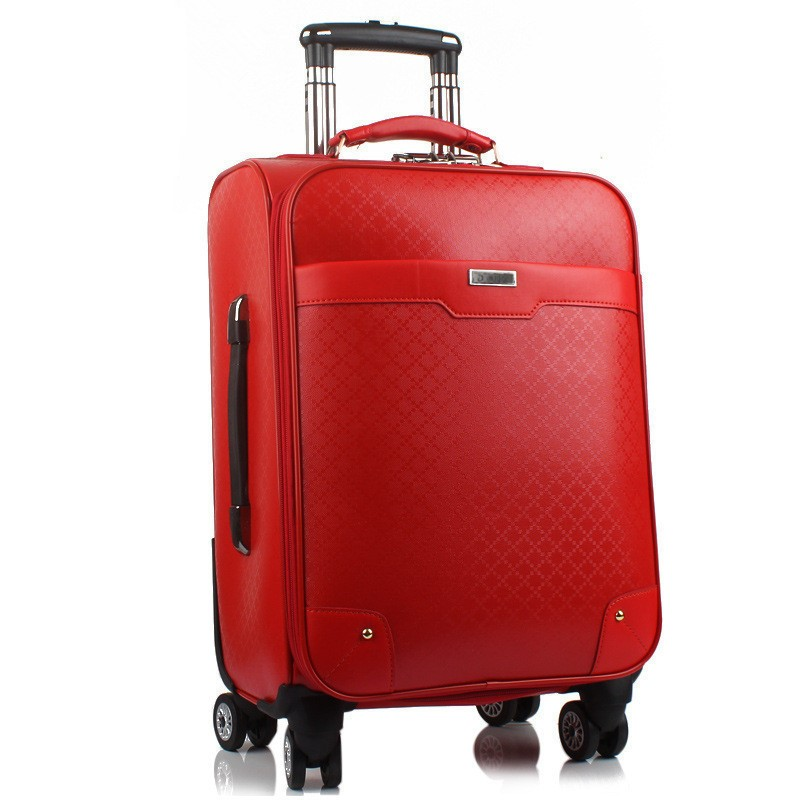 Genuine Leather Waterproof Red Luxury Women Rolling Luggage Suitcase Designer 24 Inches High Quality 4 Wheel Spinner Airport Bag free shipping original rolling wheel axis kit parrot minidrones rolling spider parts genuine