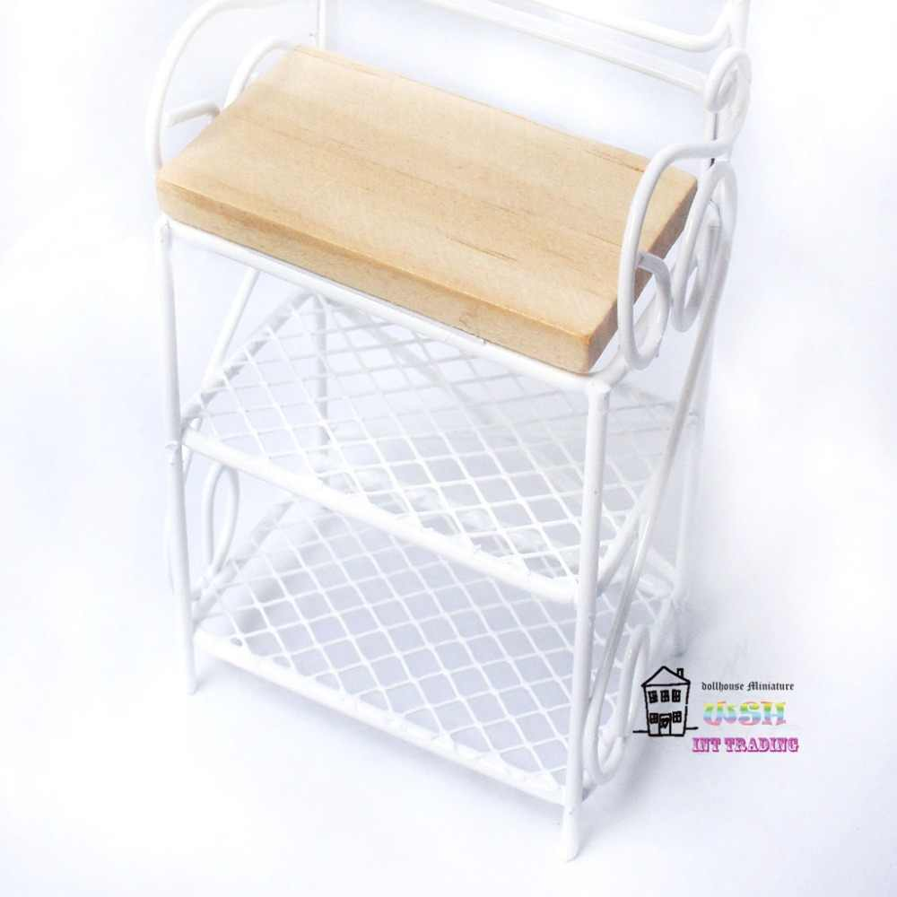 "6.89"" Doll house miniature 1:12 Metal Dolls Furniture White Kitchen storage rack three layer shelf beautiful decorations"