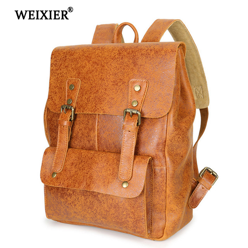 WEIXIER 2019 Retro Large Capacity Genuine Leather Mens Multi-Function Multi-Pocket Solid Color Backpack High Quality BackpackWEIXIER 2019 Retro Large Capacity Genuine Leather Mens Multi-Function Multi-Pocket Solid Color Backpack High Quality Backpack