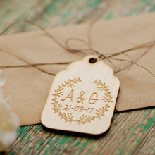 50pcs Personalized Customized Save the Date Wooden Wreath Gift Invitation Card Tags Wedding Party Decorations DIY Favors