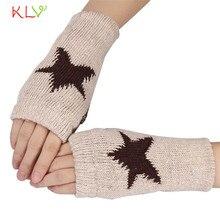 Women Men Winter Warmer Star Knitted Mittens Fingerless Arm Glove 17SEP14