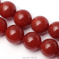 Free Shipping 20mm Smooth Natural Red Color Agate Round Shape Gems Loose Beads Strand 15 DIY