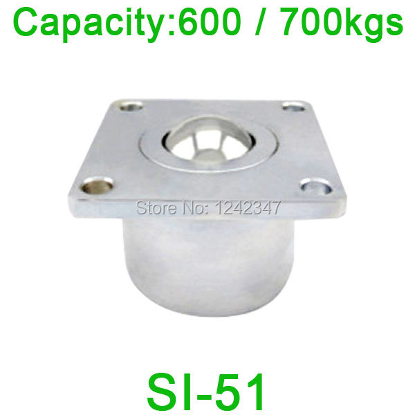 2pcs 51mm ball size SI-51 ball transfer unit SI51 600kgs load capacity Heavy duty machined solid steel ball roller caster 4pcs m12 thread bolt rod fix mount ball caster machined solid steel robot ball roller conveyor wheel ksm 25fl ball transfer unit