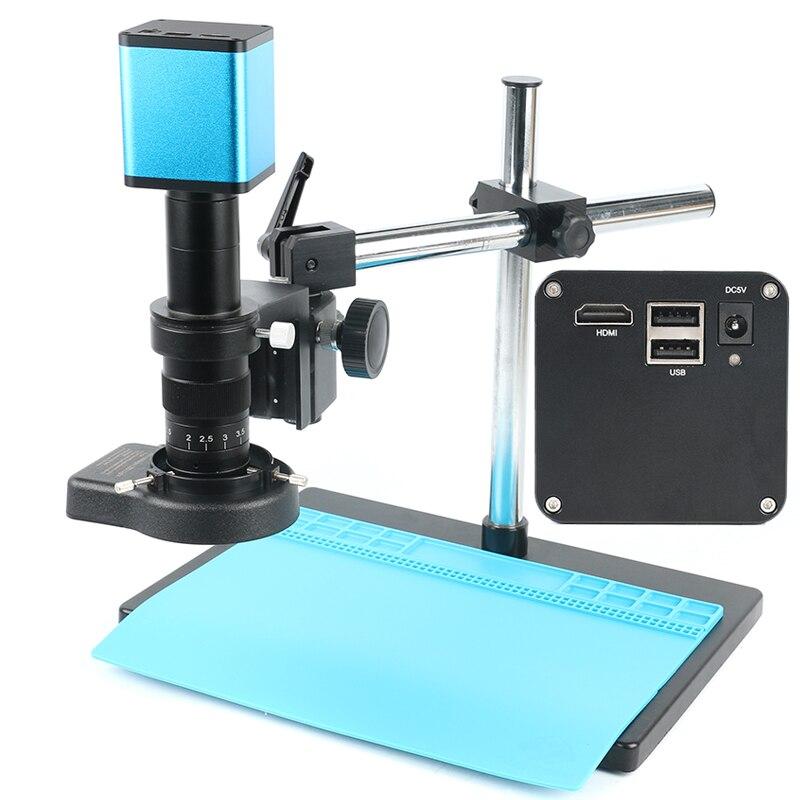 Autofocus 1080 P SONY Sensor IMX290 Câmera Microscópio Industrial HDMI Gravador de Vídeo Disco de U + 180X Lente + 144 LED luz + Boom Stand