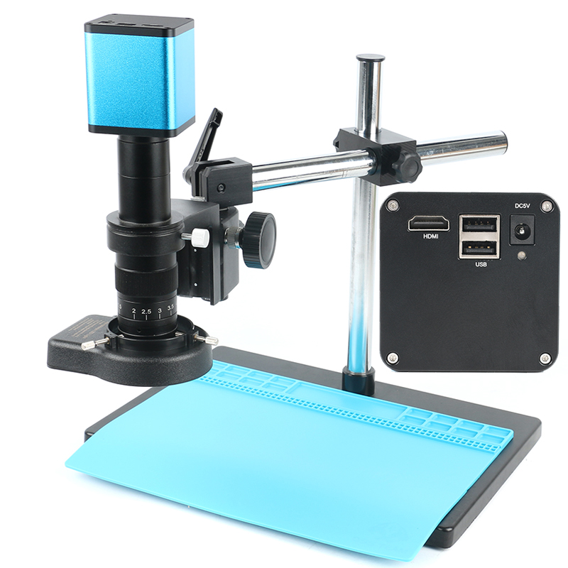 Messa a fuoco automatica 1080 P SONY IMX290 Sensore Industriale Microscopio della Macchina Fotografica HDMI Video U Disk Recorder + 180X Lens + 144 LED luce + Boom Stand